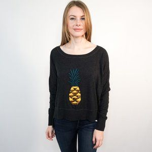 FRENCH CONNECTION Sequin Pineapple Gray Sweater